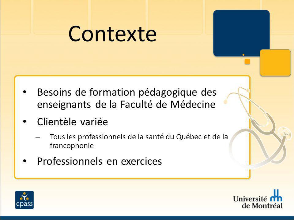 Contexte Besoins de formation pédagogique des enseignants de la Faculté de Médecine Clientèle variée – Tous les professionnels de la santé du Québec e