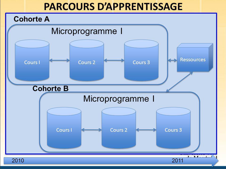 PARCOURS DAPPRENTISSAGE Cours I Cours 2 Cours 3 Microprogramme I Cours I Cours 2 Cours 3 Microprogramme I 20102011 Cohorte A Cohorte B Ressources