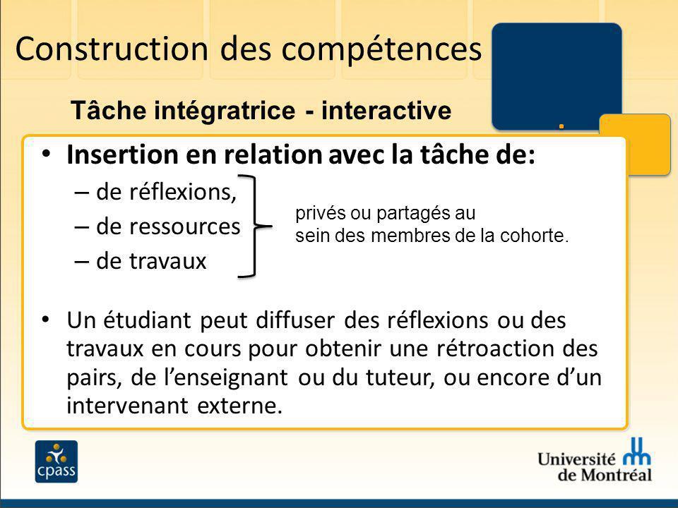Construction des compétences Insertion en relation avec la tâche de: – de réflexions, – de ressources – de travaux Un étudiant peut diffuser des réfle