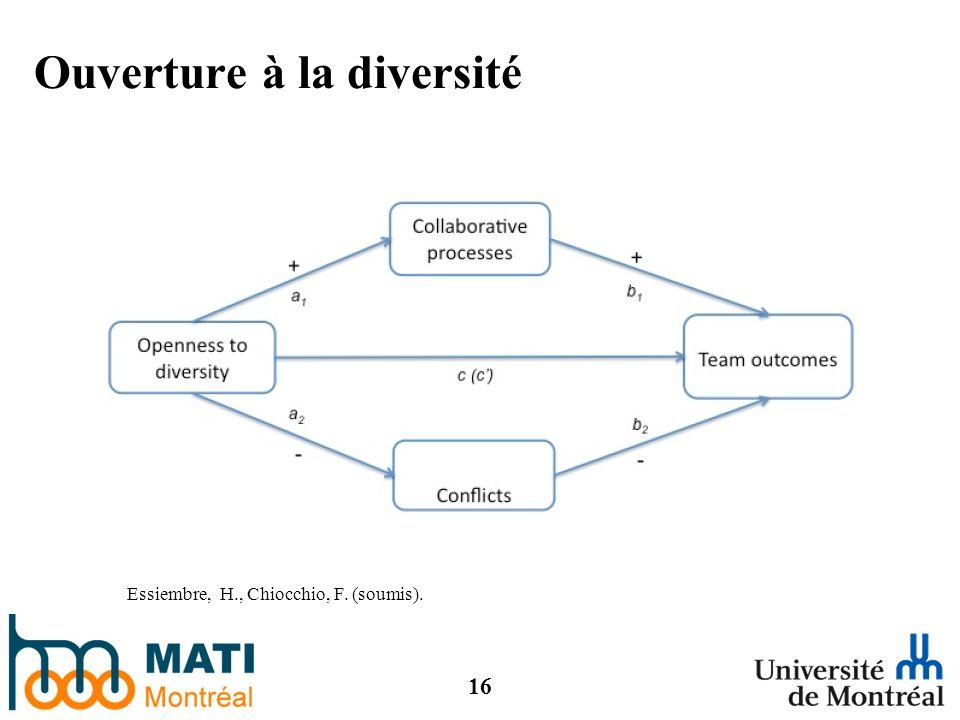 16 Ouverture à la diversité Essiembre, H., Chiocchio, F. (soumis).