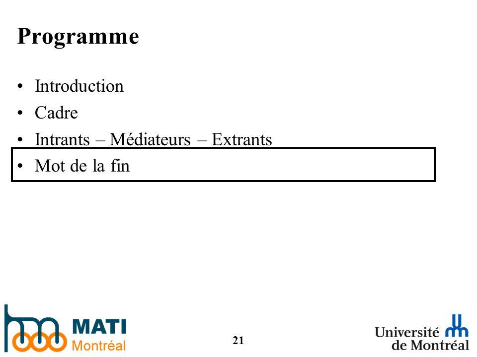 21 Programme Introduction Cadre Intrants – Médiateurs – Extrants Mot de la fin