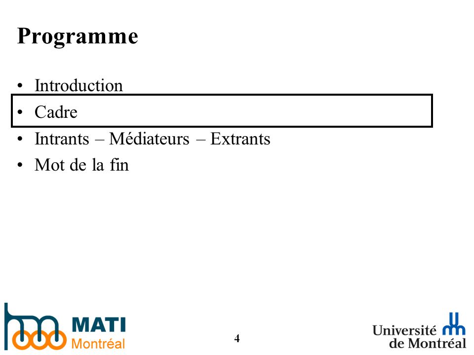 4 Programme Introduction Cadre Intrants – Médiateurs – Extrants Mot de la fin