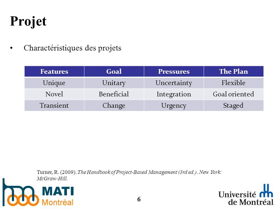 6 Projet Charactéristiques des projets FeaturesGoalPressuresThe Plan UniqueUnitaryUncertaintyFlexible NovelBeneficialIntegrationGoal oriented TransientChangeUrgencyStaged Turner, R.
