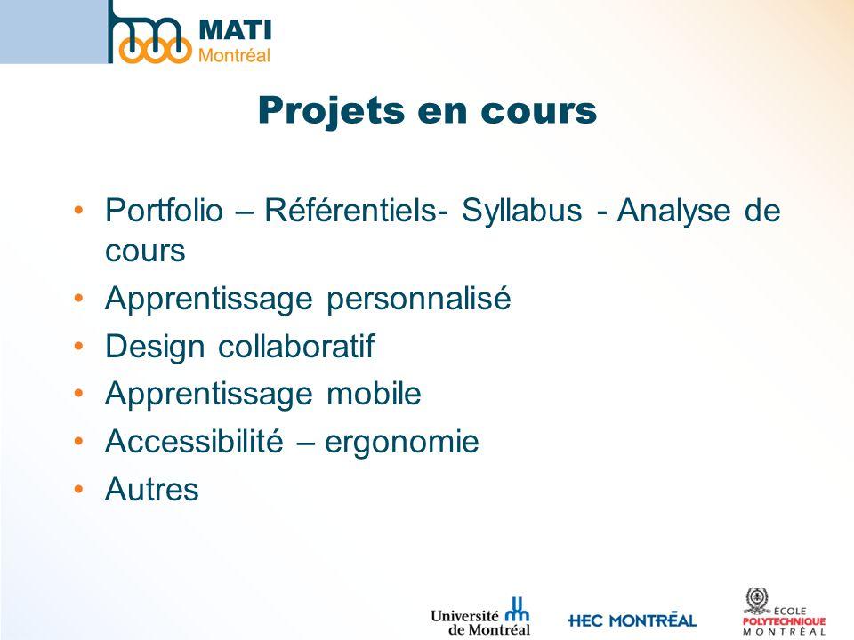 Projets en cours Portfolio – Référentiels- Syllabus - Analyse de cours Apprentissage personnalisé Design collaboratif Apprentissage mobile Accessibili
