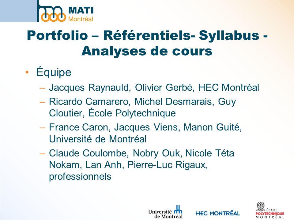 Portfolio – Référentiels- Syllabus - Analyses de cours Équipe –Jacques Raynauld, Olivier Gerbé, HEC Montréal –Ricardo Camarero, Michel Desmarais, Guy