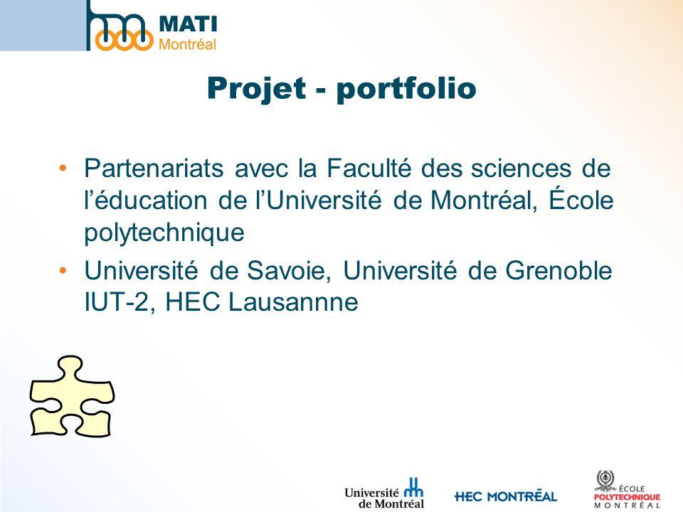 Projet - portfolio Partenariats avec la Faculté des sciences de léducation de lUniversité de Montréal, École polytechnique Université de Savoie, Unive