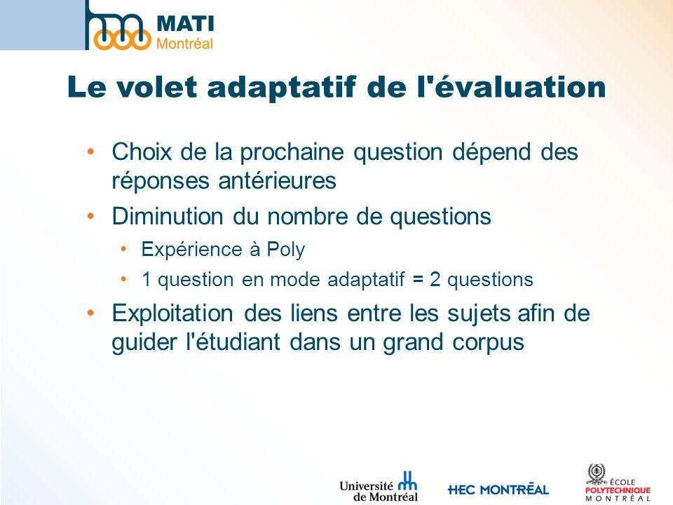 Le volet adaptatif de l'évaluation Choix de la prochaine question dépend des réponses antérieures Diminution du nombre de questions Expérience à Poly