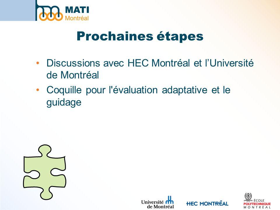 Prochaines étapes Discussions avec HEC Montréal et lUniversité de Montréal Coquille pour l'évaluation adaptative et le guidage