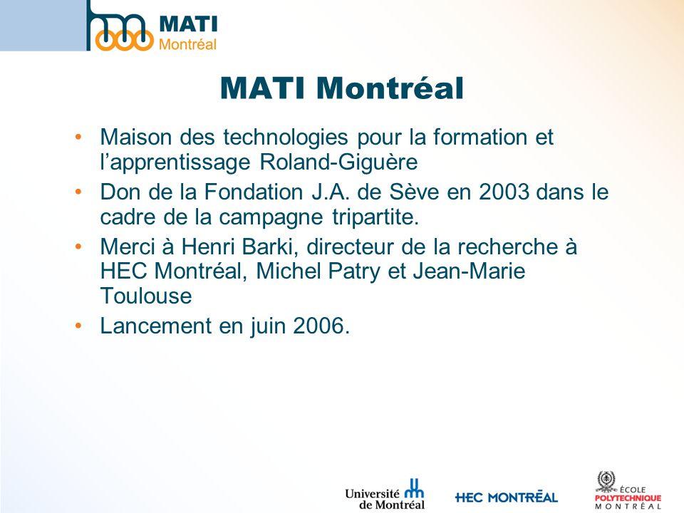 MATI Montréal Maison des technologies pour la formation et lapprentissage Roland-Giguère Don de la Fondation J.A. de Sève en 2003 dans le cadre de la