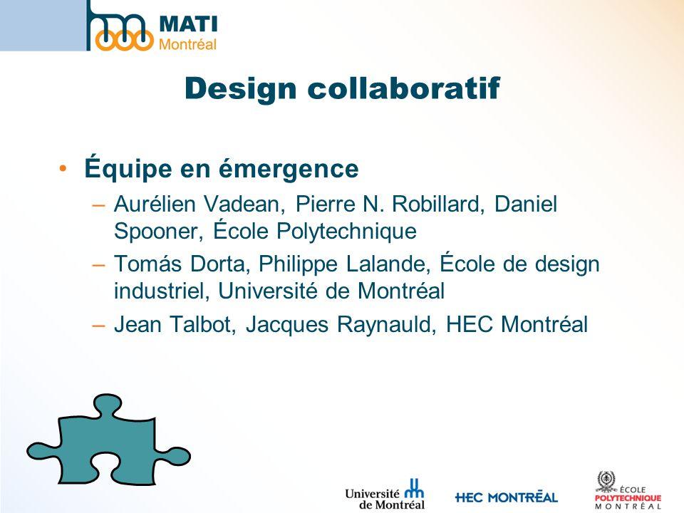 Design collaboratif Équipe en émergence –Aurélien Vadean, Pierre N. Robillard, Daniel Spooner, École Polytechnique –Tomás Dorta, Philippe Lalande, Éco