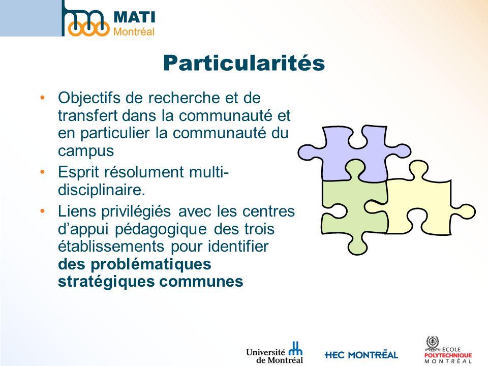 Particularités Objectifs de recherche et de transfert dans la communauté et en particulier la communauté du campus Esprit résolument multi- disciplina
