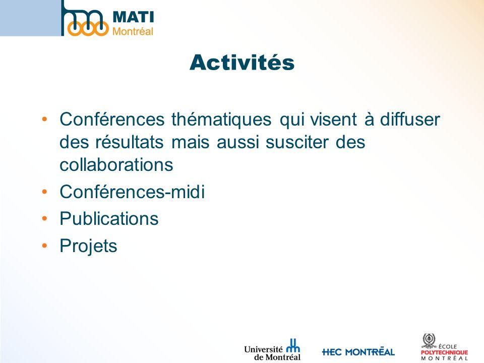 Activités Conférences thématiques qui visent à diffuser des résultats mais aussi susciter des collaborations Conférences-midi Publications Projets