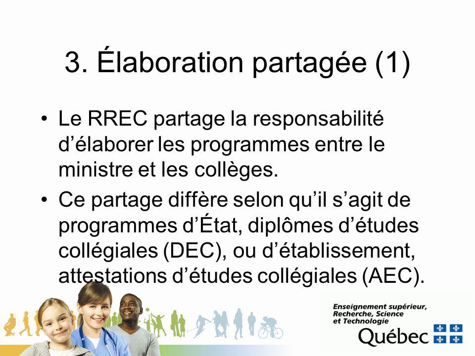 3. Élaboration partagée (1) Le RREC partage la responsabilité délaborer les programmes entre le ministre et les collèges. Ce partage diffère selon qui