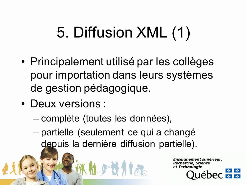5. Diffusion XML (1) Principalement utilisé par les collèges pour importation dans leurs systèmes de gestion pédagogique. Deux versions : –complète (t