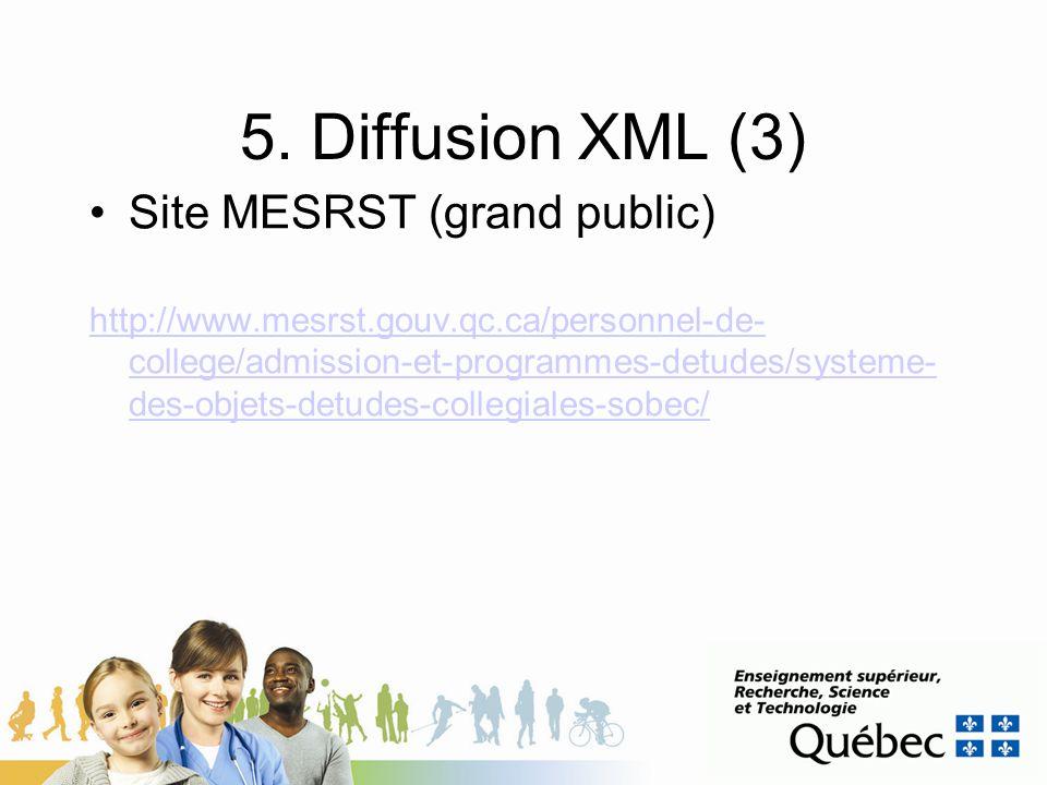 5. Diffusion XML (3) Site MESRST (grand public) http://www.mesrst.gouv.qc.ca/personnel-de- college/admission-et-programmes-detudes/systeme- des-objets