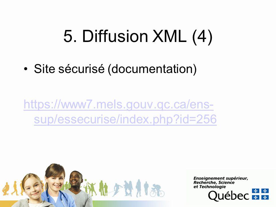 5. Diffusion XML (4) Site sécurisé (documentation) https://www7.mels.gouv.qc.ca/ens- sup/essecurise/index.php?id=256