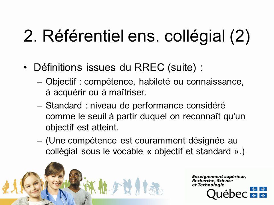 2. Référentiel ens. collégial (2) Définitions issues du RREC (suite) : –Objectif : compétence, habileté ou connaissance, à acquérir ou à maîtriser. –S