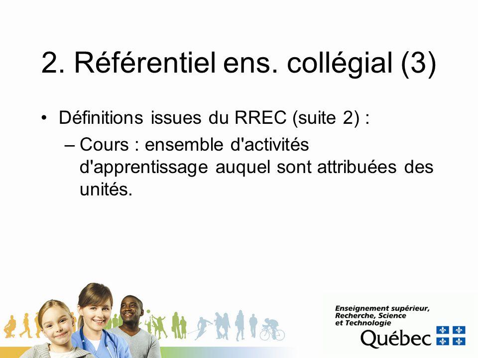 2. Référentiel ens. collégial (3) Définitions issues du RREC (suite 2) : –Cours : ensemble d'activités d'apprentissage auquel sont attribuées des unit