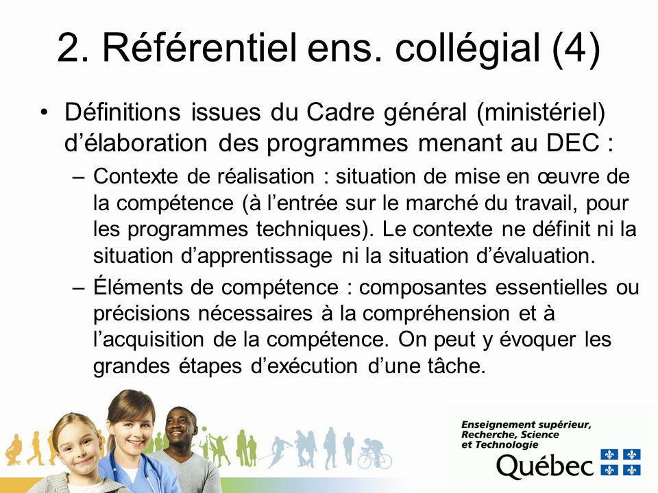 2. Référentiel ens. collégial (4) Définitions issues du Cadre général (ministériel) délaboration des programmes menant au DEC : –Contexte de réalisati