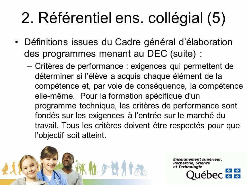 2. Référentiel ens. collégial (5) Définitions issues du Cadre général délaboration des programmes menant au DEC (suite) : –Critères de performance : e
