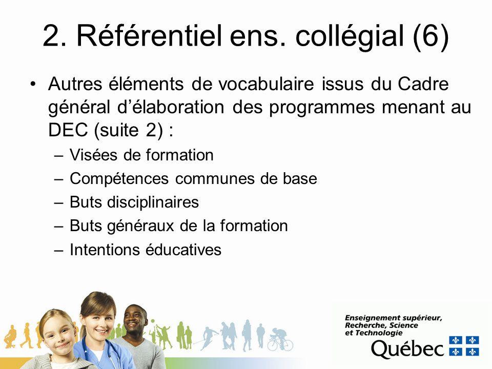 2. Référentiel ens. collégial (6) Autres éléments de vocabulaire issus du Cadre général délaboration des programmes menant au DEC (suite 2) : –Visées