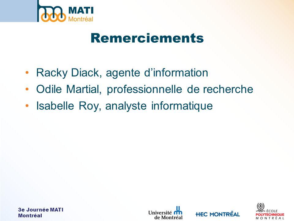 3e Journée MATI Montréal Remerciements Racky Diack, agente dinformation Odile Martial, professionnelle de recherche Isabelle Roy, analyste informatique