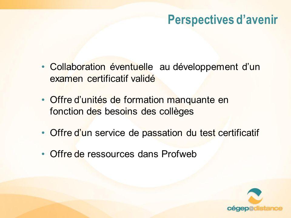 Collaboration éventuelle au développement dun examen certificatif validé Offre dunités de formation manquante en fonction des besoins des collèges Offre dun service de passation du test certificatif Offre de ressources dans Profweb Perspectives davenir