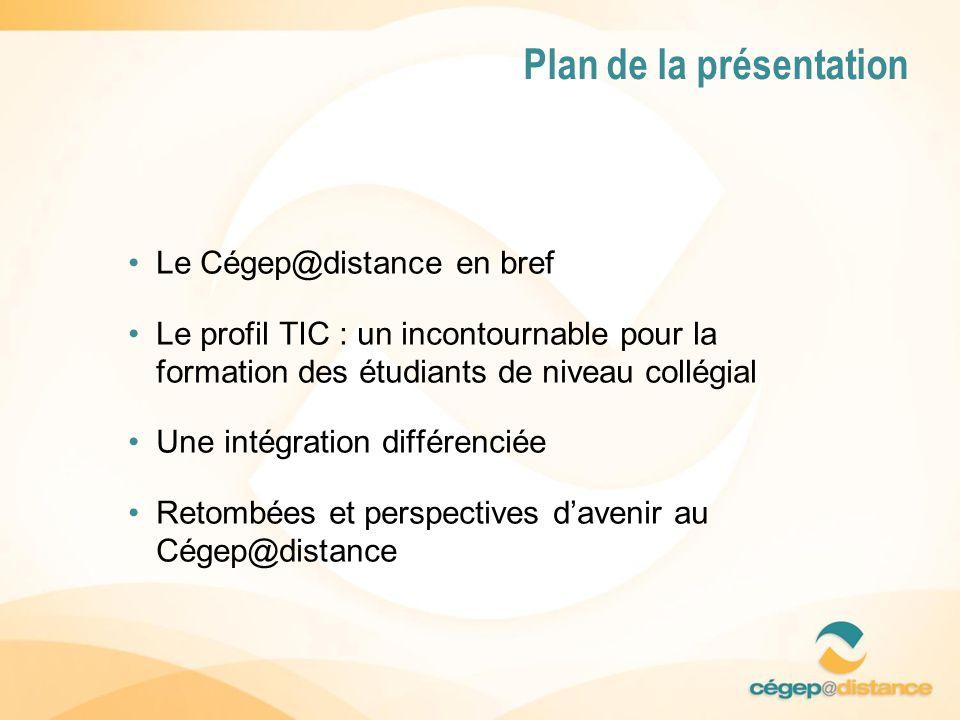 Plan de la présentation Le Cégep@distance en bref Le profil TIC : un incontournable pour la formation des étudiants de niveau collégial Une intégration différenciée Retombées et perspectives davenir au Cégep@distance