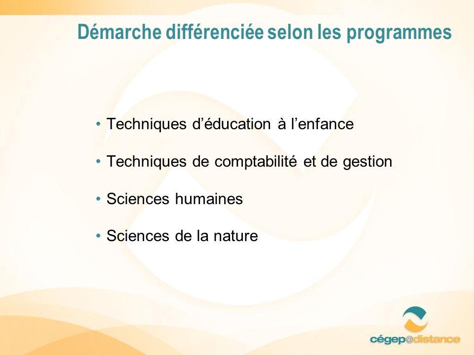 Techniques déducation à lenfance Techniques de comptabilité et de gestion Sciences humaines Sciences de la nature Démarche différenciée selon les programmes