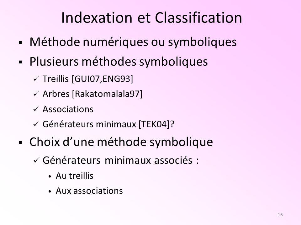 16 Indexation et Classification Méthode numériques ou symboliques Plusieurs méthodes symboliques Treillis [GUI07,ENG93] Arbres [Rakatomalala97] Associ