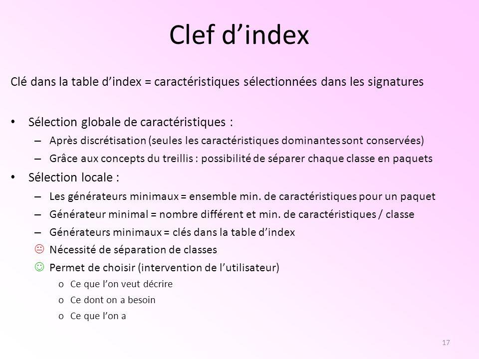 17 Clef dindex Clé dans la table dindex = caractéristiques sélectionnées dans les signatures Sélection globale de caractéristiques : – Après discrétis