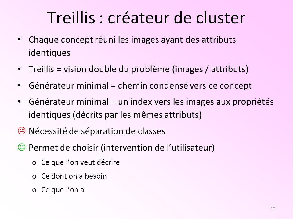 19 Treillis : créateur de cluster Chaque concept réuni les images ayant des attributs identiques Treillis = vision double du problème (images / attrib
