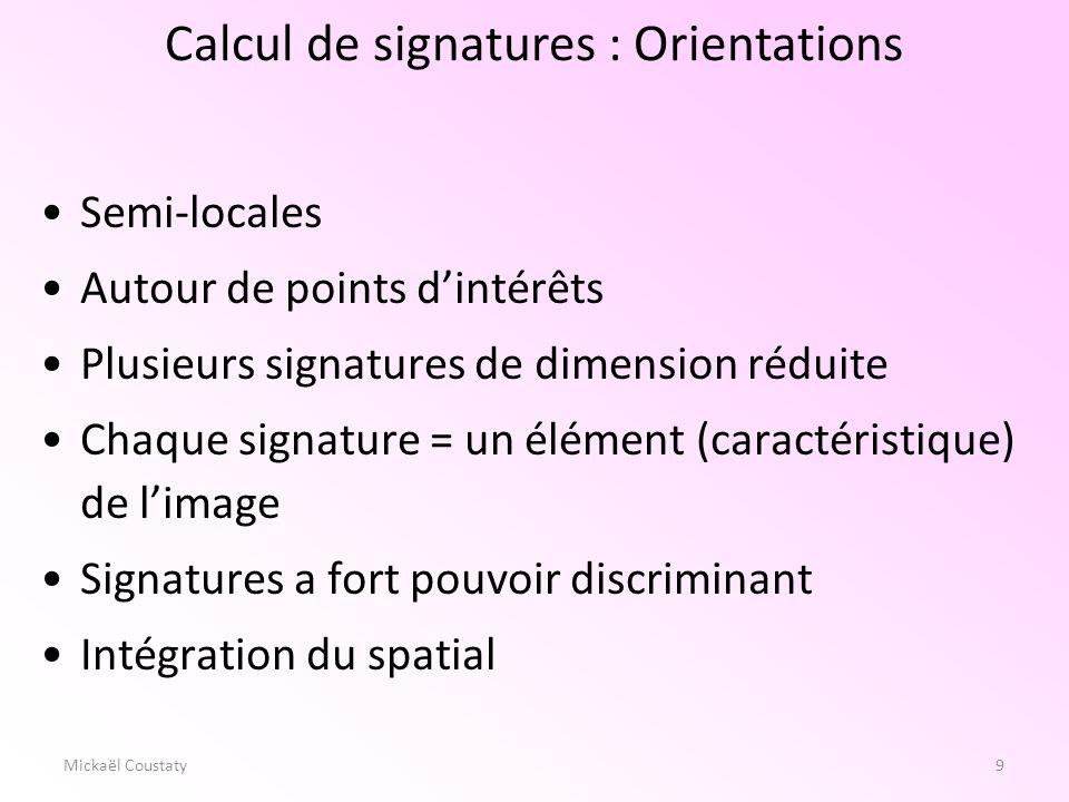 9Mickaël Coustaty Semi-locales Autour de points dintérêts Plusieurs signatures de dimension réduite Chaque signature = un élément (caractéristique) de