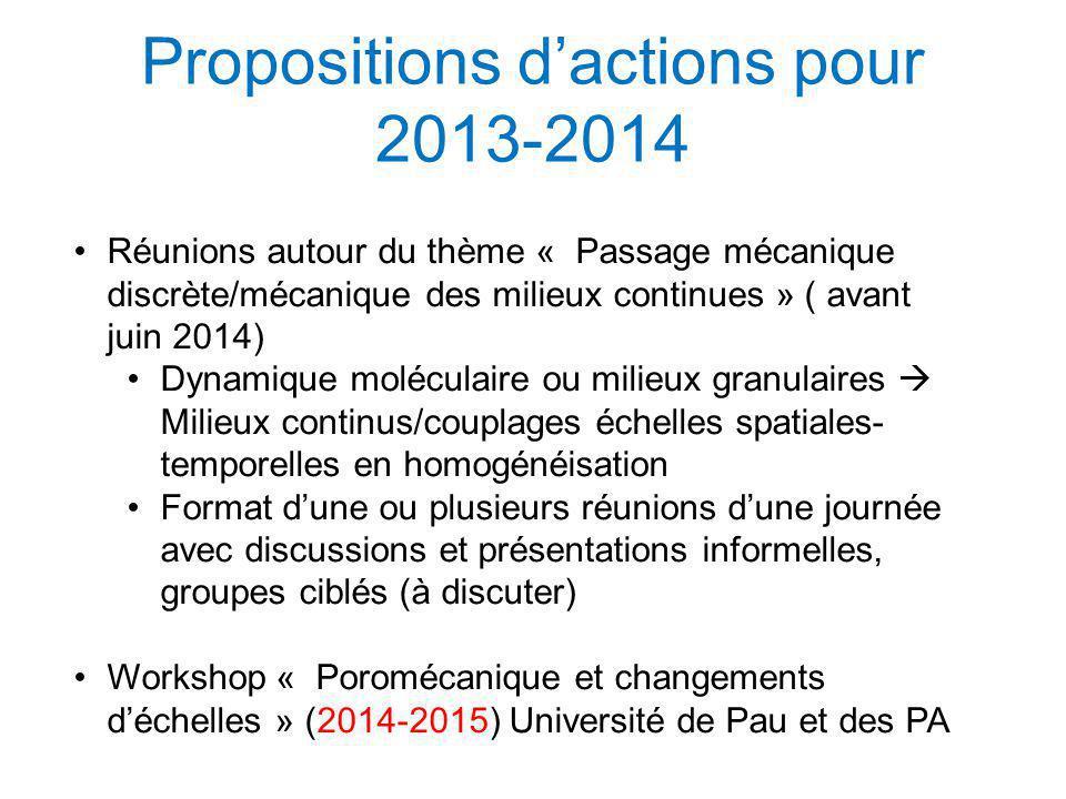 Propositions dactions pour 2013-2014 Réunions autour du thème « Passage mécanique discrète/mécanique des milieux continues » ( avant juin 2014) Dynami