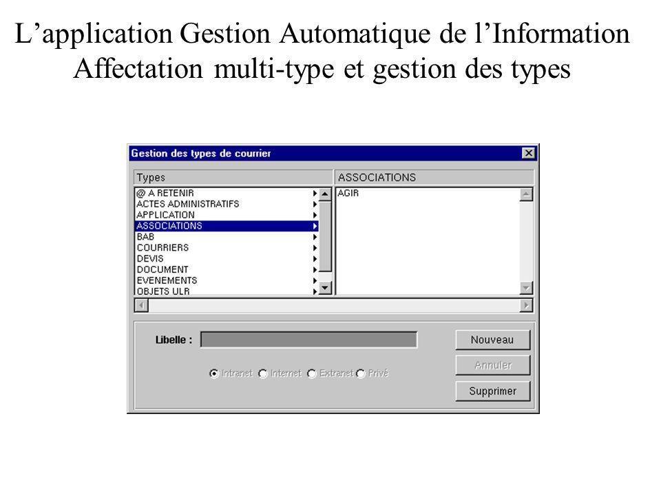 Lapplication Gestion Automatique de lInformation Affectation multi-type et gestion des types