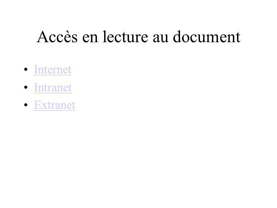Accès en lecture au document Internet Intranet Extranet