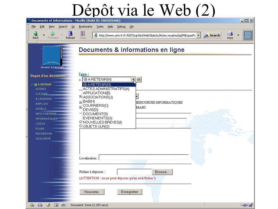 Dépôt via le Web (2)
