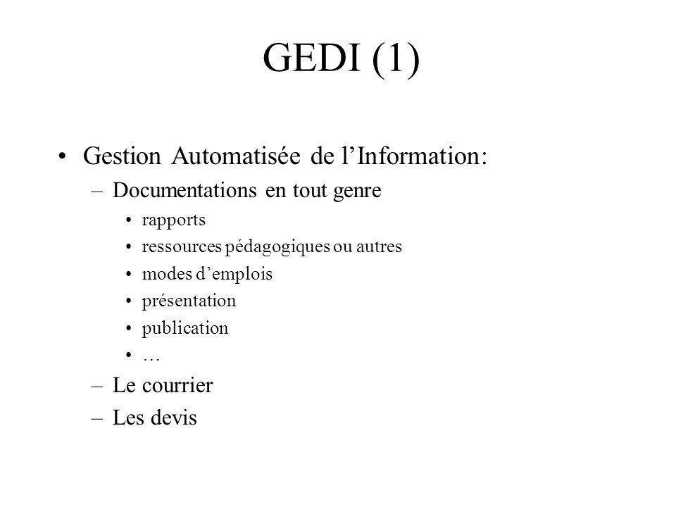 Gestion Automatisée de lInformation: –Documentations en tout genre rapports ressources pédagogiques ou autres modes demplois présentation publication … –Le courrier –Les devis GEDI (1)