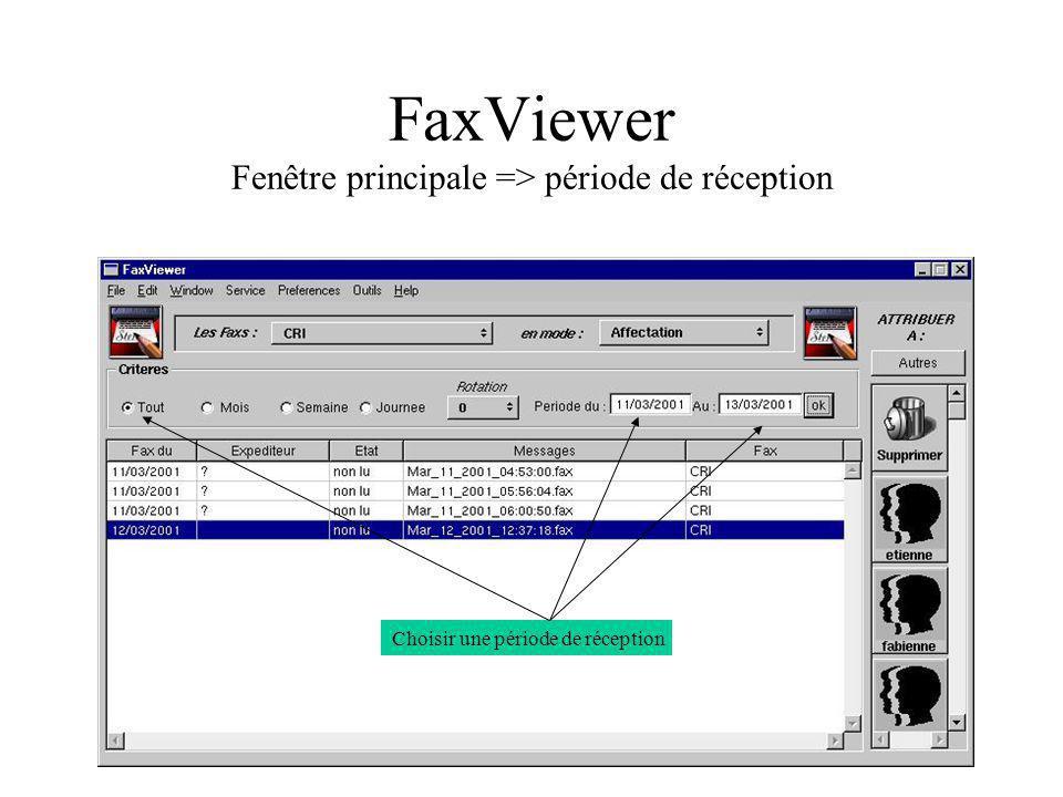 FaxViewer Fenêtre principale => période de réception Choisir une période de réception