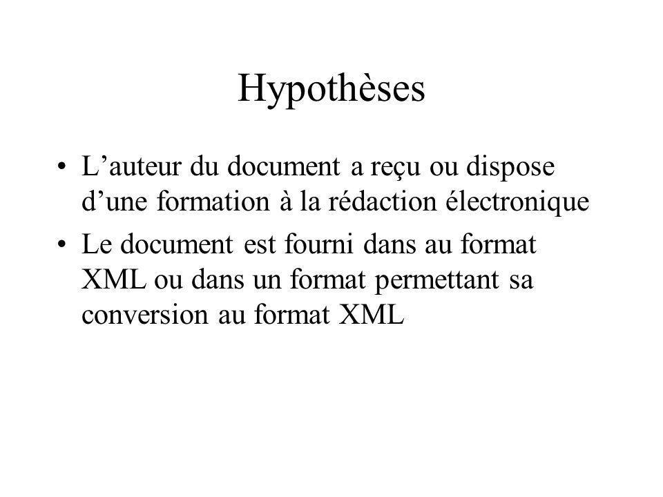 Hypothèses Lauteur du document a reçu ou dispose dune formation à la rédaction électronique Le document est fourni dans au format XML ou dans un format permettant sa conversion au format XML