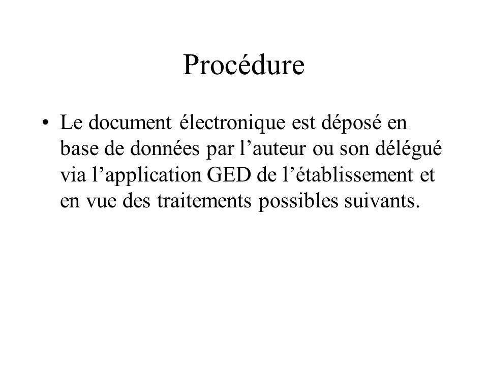 Procédure Le document électronique est déposé en base de données par lauteur ou son délégué via lapplication GED de létablissement et en vue des traitements possibles suivants.