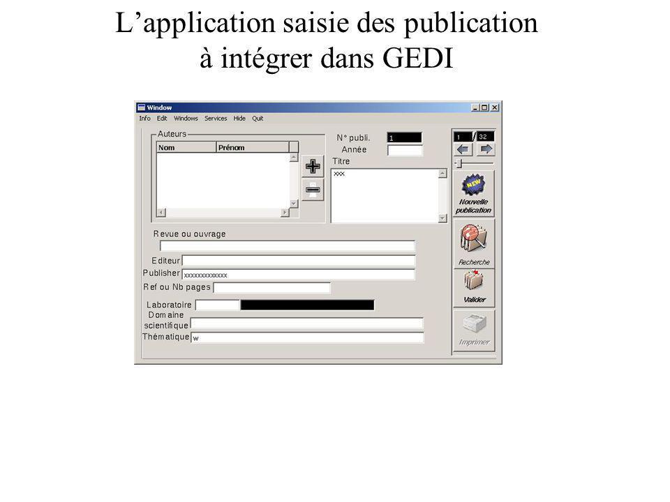 Lapplication saisie des publication à intégrer dans GEDI