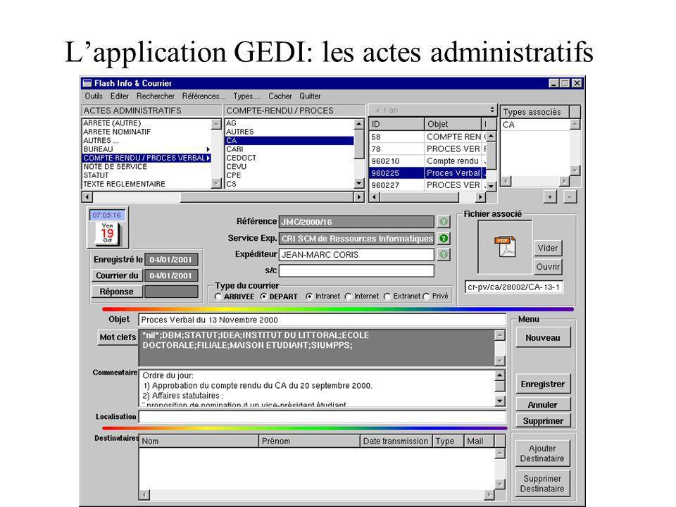 Lapplication GEDI: les actes administratifs