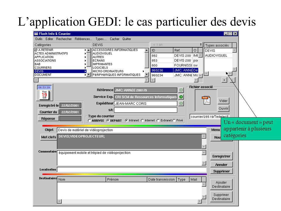 Lapplication GEDI: le cas particulier des devis Un « document » peut appartenir à plusieurs catégories