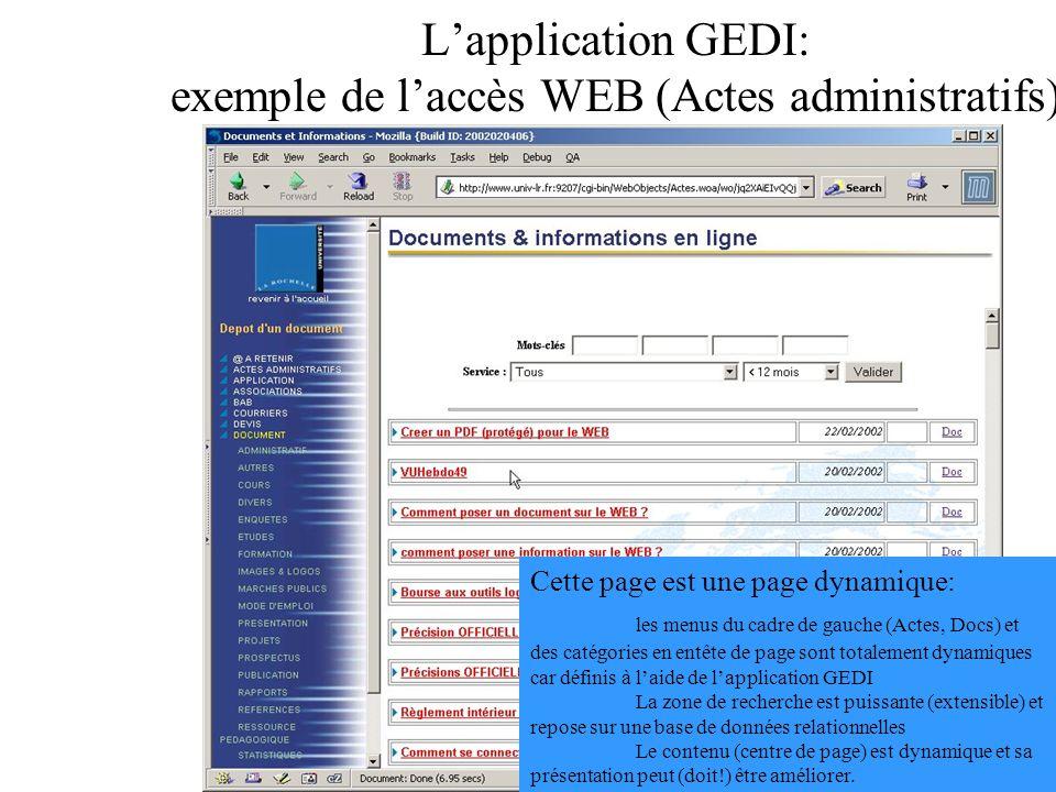 Lapplication GEDI: exemple de laccès WEB (Actes administratifs) Cette page est une page dynamique: les menus du cadre de gauche (Actes, Docs) et des c
