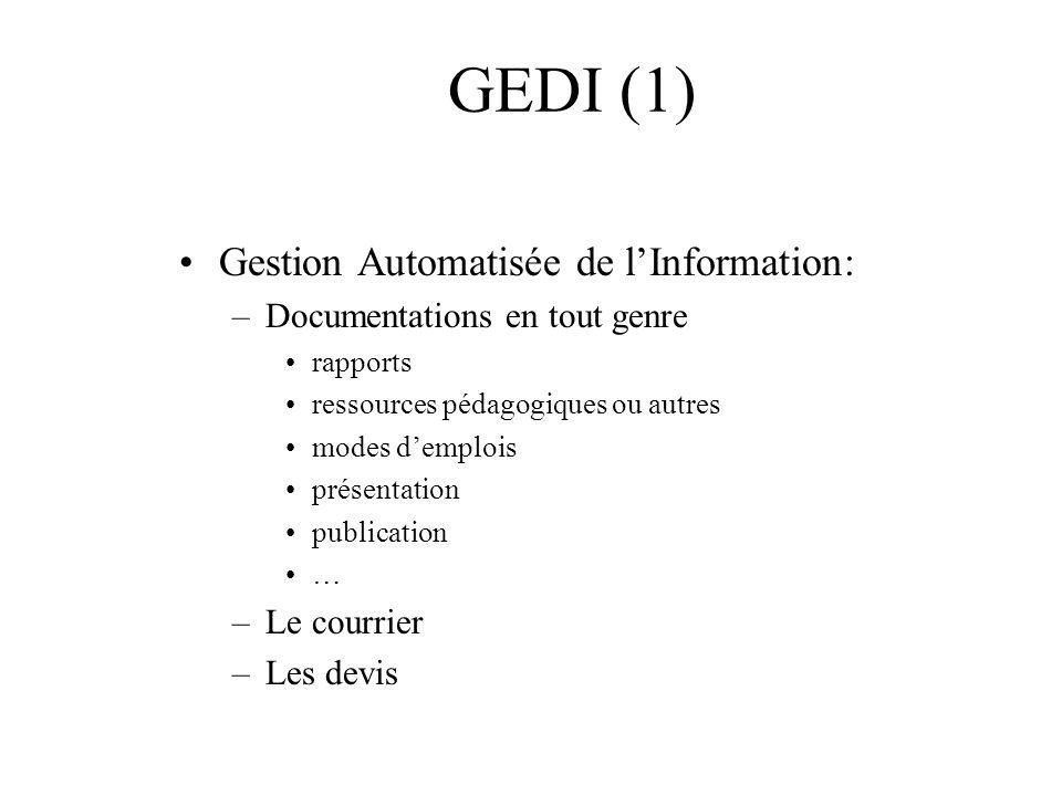Gestion Automatisée de lInformation: –Documentations en tout genre rapports ressources pédagogiques ou autres modes demplois présentation publication