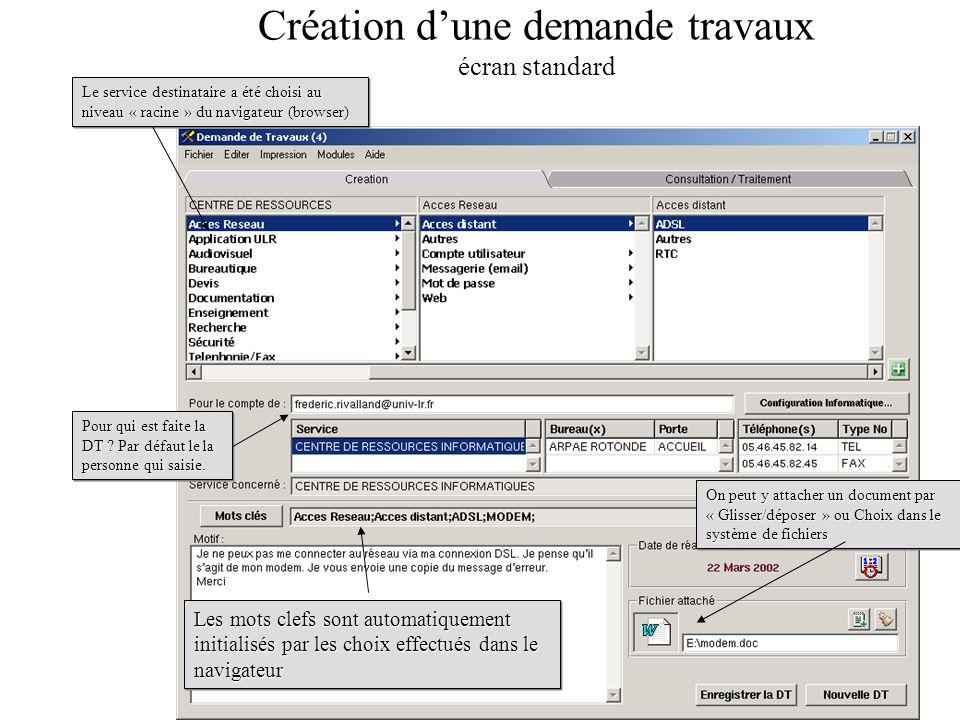Création dune demande travaux écran standard Les mots clefs sont automatiquement initialisés par les choix effectués dans le navigateur On peut y atta