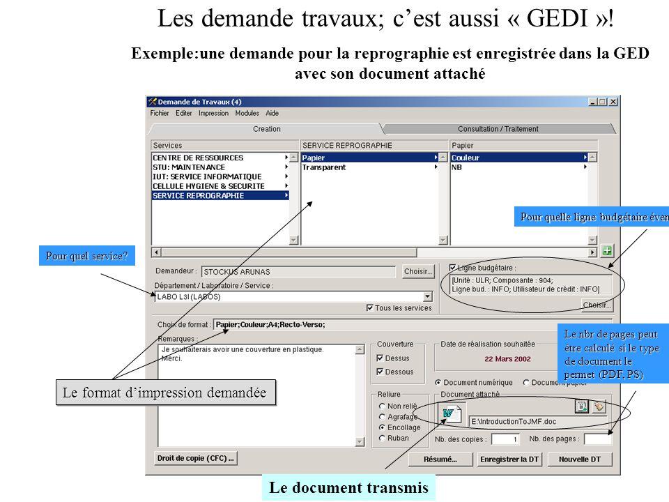 Les demande travaux; cest aussi « GEDI »! Exemple:une demande pour la reprographie est enregistrée dans la GED avec son document attaché Le format dim
