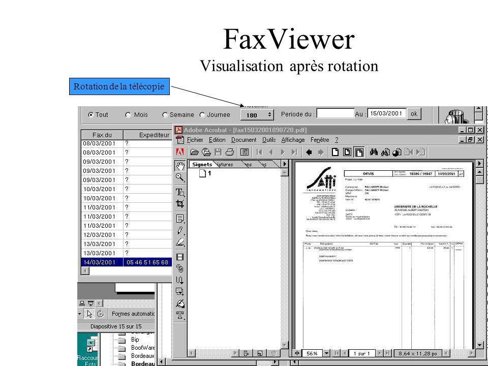 FaxViewer Visualisation après rotation Rotation de la télécopie