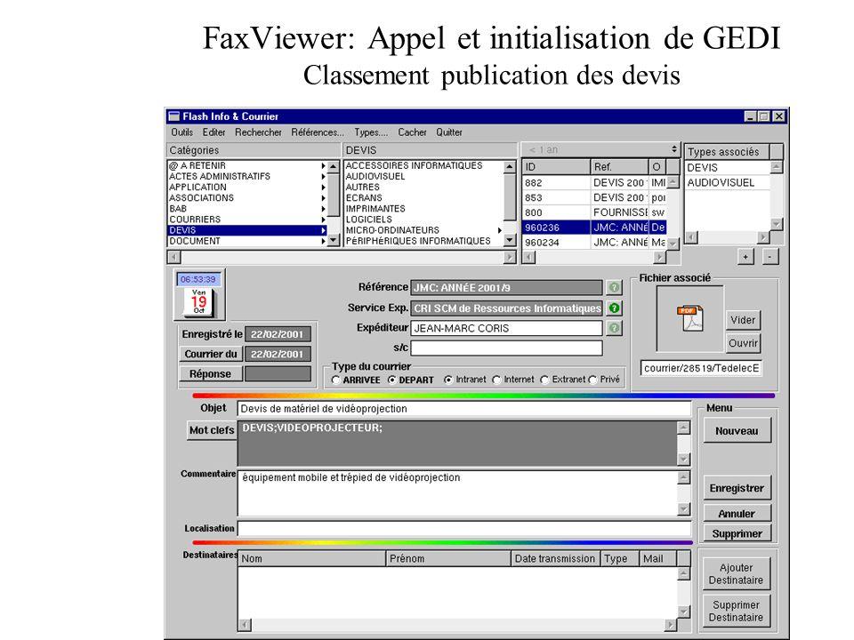 FaxViewer: Appel et initialisation de GEDI Classement publication des devis